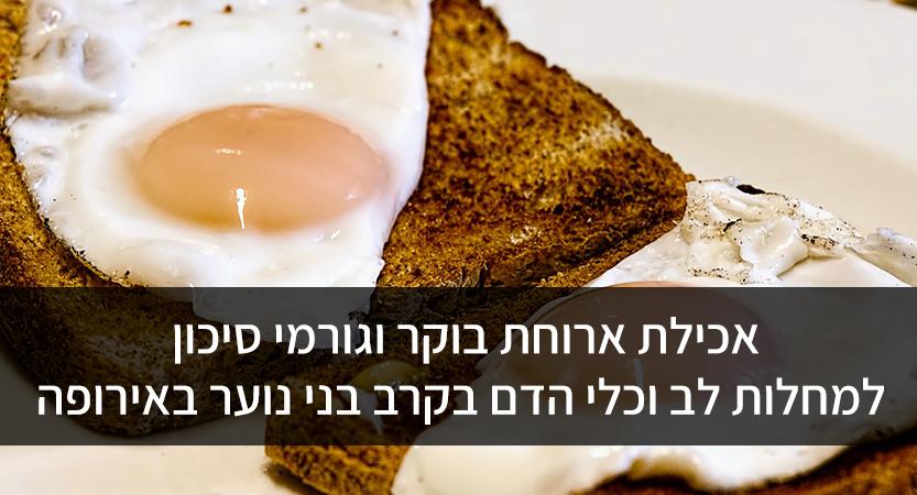 אכילת ארוחת בוקר וגורמי סיכון למחלות לב וכלי הדם בקרב בני נוער באירופה