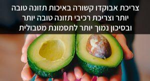צריכת אבוקדו קשורה באיכות תזונה טובה יותר וצריכת רכיבי תזונה טובה יותר ובסיכון נמוך יותר לתסמונת מטבולית