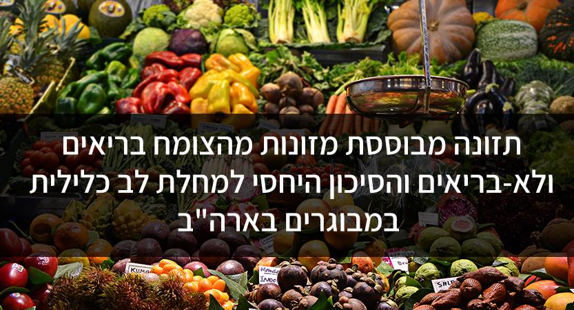 """תזונה מבוססת מזונות מהצומח בריאים ולא-בריאים והסיכון היחסי למחלת לב כלילית במבוגרים בארה""""ב"""